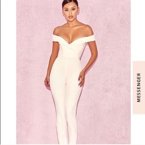 House of CB Bella Bardot Formal Jumpsuit White NYE